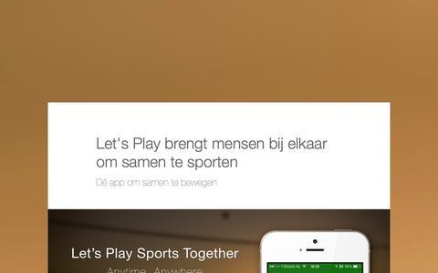 Screenshot of Press Page letsplay-app.com - Persbericht: Let's Play brengt mensen bij elkaar om samen te sporten - captured Oct. 2, 2014