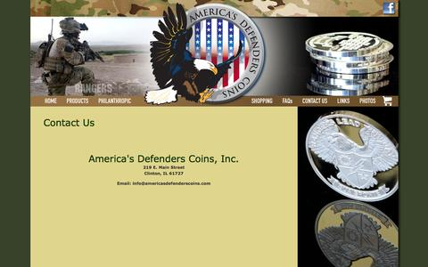 Screenshot of Contact Page americasdefenderscoins.com - Contact ADC | America's Defenders Coins | Silver Ranger Coins | Silver Coins | Military Challenge Coins | .999 Silver - captured Oct. 4, 2014