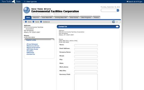 Screenshot of Contact Page ny.gov - New York State Environmental Facilities Corporation > Home > Forms > Contact Us - captured Sept. 19, 2014