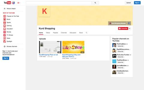 Screenshot of YouTube Page youtube.com - Kurd Shopping  - YouTube - captured Nov. 4, 2014
