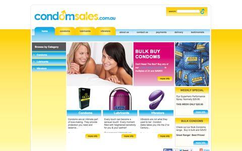 Screenshot of Home Page condomsales.com.au - Buy Condoms Online - captured Sept. 23, 2014