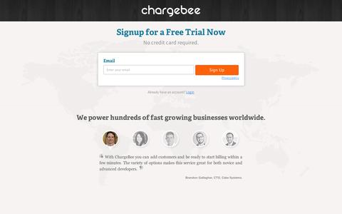 Screenshot of Signup Page chargebee.com - ChargeBee - Subscription Billing - captured Sept. 12, 2014