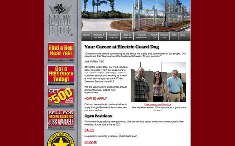 Screenshot of Jobs Page electricguarddog.com - electric-guard-dog-jobs - captured Oct. 28, 2014