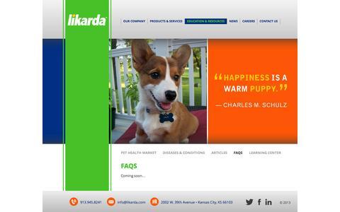 Screenshot of FAQ Page likarda.com - FAQs | Likarda - captured Oct. 3, 2014