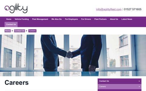 Screenshot of Jobs Page agilityfleet.com - Careers   Agility Fleet - captured July 24, 2016