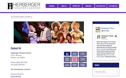 Screenshot of Contact Page herbergertheater.org - Contact Us – Herberger Theater Center - captured Sept. 28, 2018