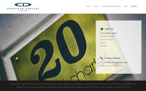 Screenshot of Contact Page cdfairfieldcapital.com - Property Investment Belfast   Contact CD Fairfield Capital Ltd - captured Dec. 5, 2015