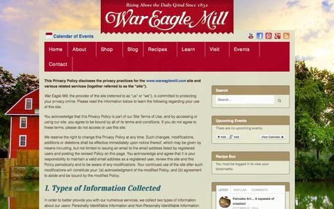 Screenshot of Privacy Page wareaglemill.com - Privacy Policy - War Eagle Mill - captured Nov. 5, 2014