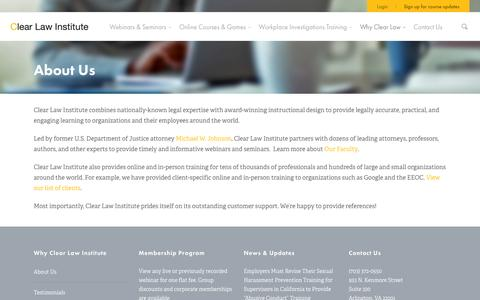 Screenshot of About Page clearlawinstitute.com - Sexual Harassment Training Company | Clear Law Institute - captured Oct. 28, 2014