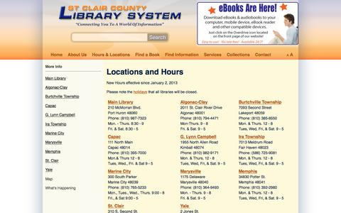 Screenshot of Locations Page stclaircountylibrary.org - St. Clair County Library System - Locations - captured Dec. 1, 2016