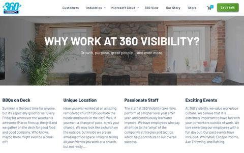 Screenshot of Jobs Page 360visibility.com - Careers - 360 Visibility - captured April 13, 2018