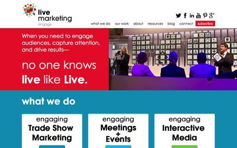 Screenshot of Home Page livemarketing.com - Live Marketing - Trade Show, Event, & Experiential Marketing - captured Sept. 30, 2014