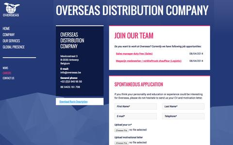 Screenshot of Jobs Page overseas.be - Careers Archive | Overseas Distribution Company - captured Oct. 7, 2014