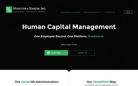 Screenshot of Home Page mh1s.com - Moulton & Hardin, Inc. / M&H One Source Human Capital Management and Employee Benefits Management - captured Jan. 22, 2016