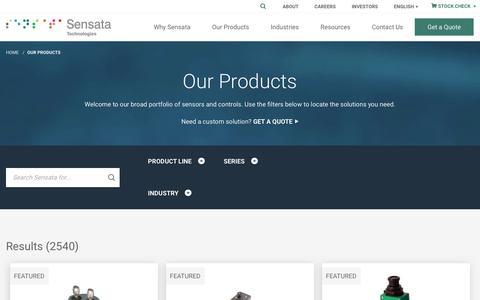 Screenshot of Products Page sensata.com - Our Products   Sensata - captured June 18, 2019