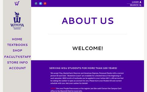 Screenshot of About Page Contact Page Hours Page wsubookstore.com - About Us | Winona State University Bookstore - captured April 11, 2017