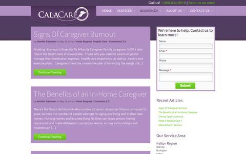 Screenshot of Blog Press Page calacare.com - Blog - CalaCare - captured Oct. 22, 2014