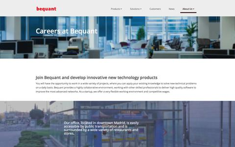 Screenshot of Jobs Page bequant.com - Careers | Bequant - captured Aug. 1, 2018
