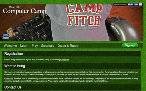 Screenshot of Signup Page campcomputer.com - Camp Fitch Computer Camp - captured Jan. 25, 2016