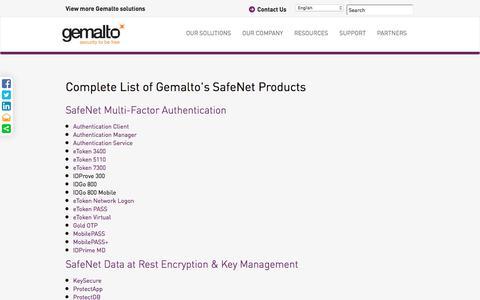 Screenshot of Site Map Page gemalto.com - Complete DP Products List | Gemalto - captured June 25, 2016