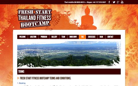 Screenshot of Terms Page thailandfitnessbootcamp.com - Terms & Conditions   Fresh Start :: Thailand Fitness Bootcamp - captured Oct. 6, 2014