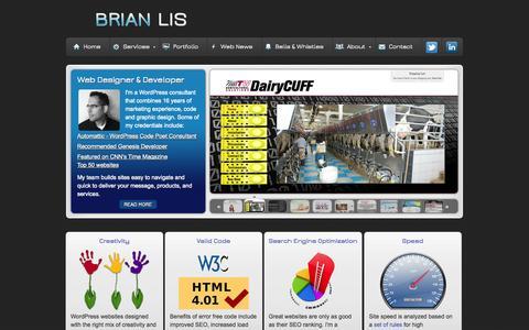 Screenshot of Home Page brianlis.com - WordPress Consultant - captured Sept. 22, 2014