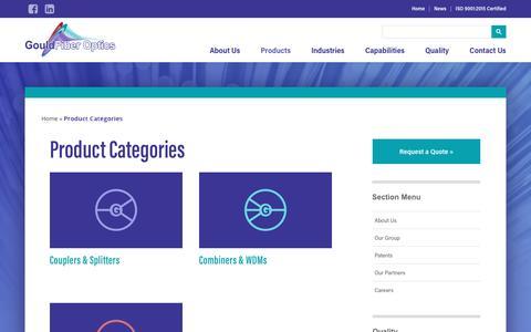 Screenshot of Products Page gouldfo.com - Product Categories - Gould Fiber Optics - captured Nov. 12, 2016
