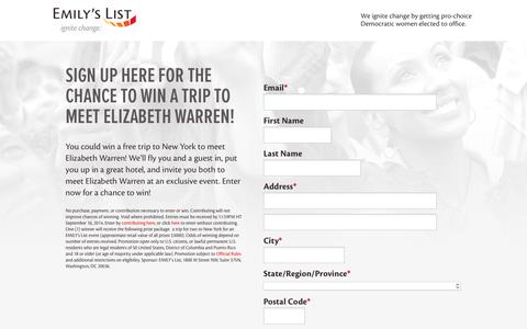 Screenshot of Landing Page emilyslist.org - EMILY's List  |  New York Contest - captured Oct. 18, 2016
