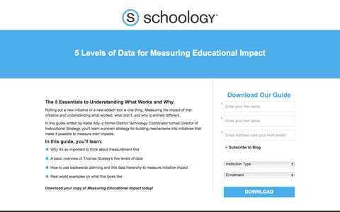 Screenshot of Landing Page schoology.com - 5 Levels of Data for Measuring Educational Impact - captured Sept. 13, 2017