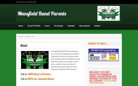 Screenshot of About Page mansfieldbandparents.org - About | Mansfield Band Parents - captured June 10, 2016