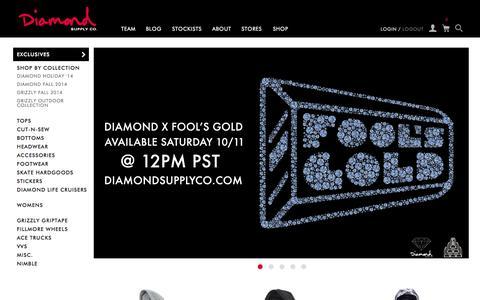 Screenshot of Home Page diamondsupplyco.com - Diamond Supply Co l Official Store - captured Oct. 10, 2014