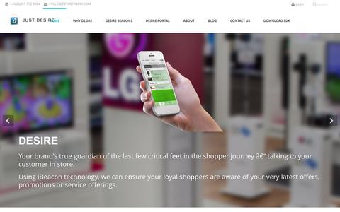 Screenshot of Home Page desireitnow.com - Desire: A Retail Revolution – iBeacon In-Store Mobile Marketing - captured Feb. 12, 2016