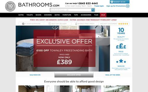 Screenshot of Home Page bathrooms.com - The UK's favourite online bathroom retailer   Bathrooms.com - captured Feb. 19, 2016
