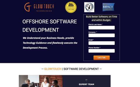Screenshot of Landing Page glowtouch.com - Offshore Software Development | GlowTouch - captured June 21, 2016