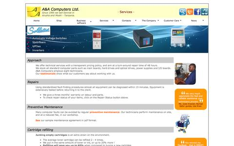 Screenshot of Services Page aacomputers.co.tz - A&A Computers Ltd. | Services - captured Feb. 1, 2016