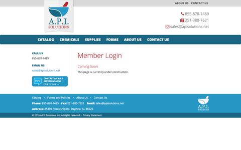 Screenshot of Login Page apisolutions.net - Member Login - A.P.I. Solutions - captured Nov. 9, 2018