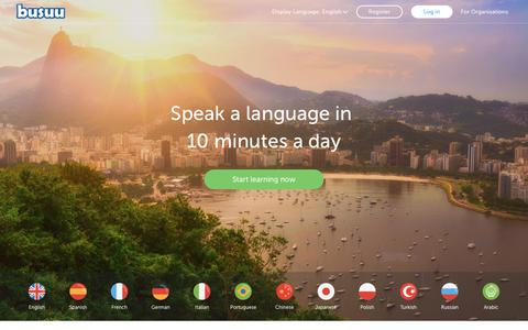 Screenshot of Home Page busuu.com - Learn languages: Spanish, French, German and start for free - busuu - captured Oct. 11, 2017