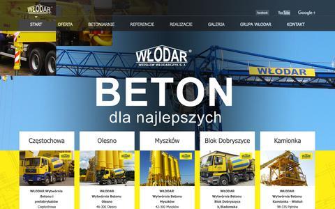 Screenshot of Home Page wlodar.com.pl - Włodar - beton dla najlepszych - Start - captured Oct. 27, 2018