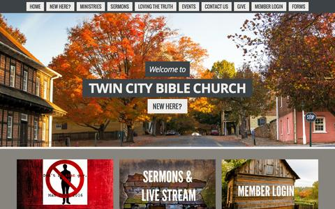 Screenshot of Home Page twincitybible.org - Twin City Bible ChurchWelcome To Twin City Bible Church - captured Feb. 16, 2016