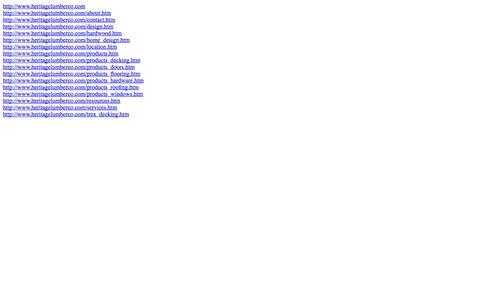 Screenshot of Site Map Page heritagelumberco.com captured Oct. 2, 2014