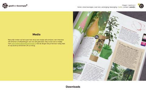 Screenshot of Press Page geefeenboompje.nl - Informatie voor de pers. Neem contact met ons op GeefeenBoompje.nl - captured Oct. 28, 2016