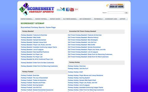 Screenshot of Site Map Page scoresheet.com - Scoresheet Sitemap - captured Sept. 25, 2014