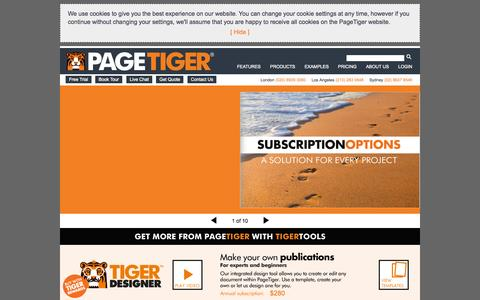 Screenshot of Products Page pagetiger.com - PAGETIGER SUBSCRIPTIONS - captured Sept. 23, 2014