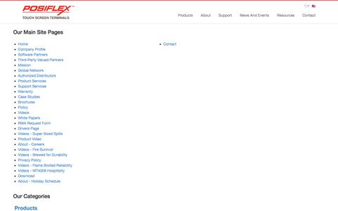 Screenshot of Site Map Page posiflexusa.com - Posiflex USA | Sitemap - captured July 6, 2016