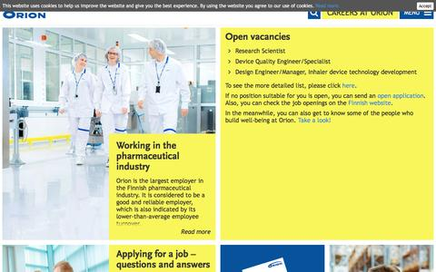 Screenshot of Jobs Page orion.fi - Careers at Orion | Orion - captured Dec. 22, 2016