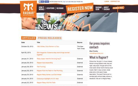 Screenshot of Press Page ragnarrelay.com - Press Releases & Contacts, Articles, News | Ragnar Relay Series - captured Feb. 17, 2016