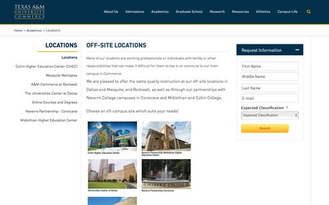 Screenshot of Locations Page tamuc.edu - Off-Site Locations - Texas A&M University-Commerce - captured Feb. 14, 2016