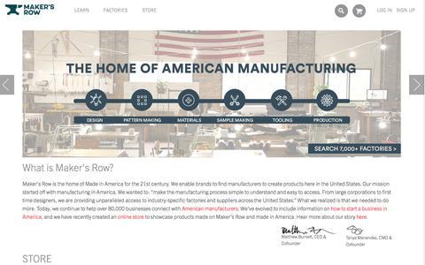 Screenshot of Home Page makersrow.com - Maker's Row - Factory Sourcing Made Easy - captured Sept. 12, 2015