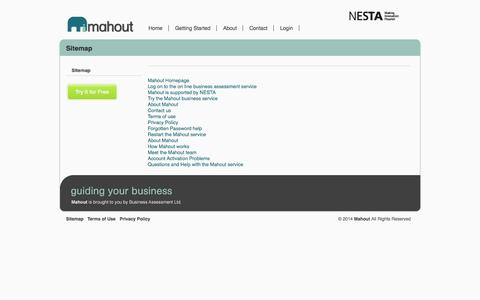Screenshot of Site Map Page mymahout.com - My Mahout sitemap - Navigate around our website  | Mahout - captured Oct. 5, 2014