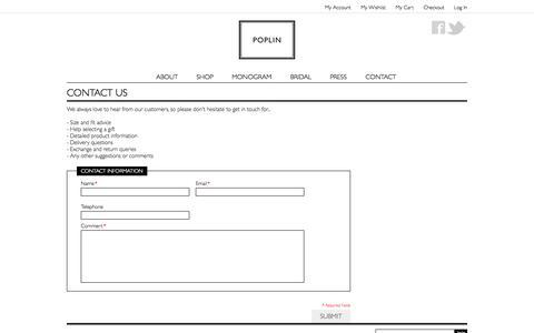 Screenshot of Contact Page poplin.co.uk - Magento Commerce - captured Oct. 27, 2014